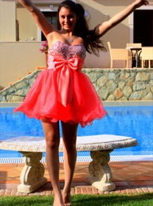 Coral Strapless Sweetheart Beaded Short Prom Dress With Bow In Front