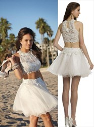 White Two Piece High Neck Lace Bodice Short Homecoming Dress