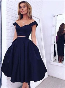 Simple Navy Blue Two Piece Off The Shoulder Short Homecoming Dress