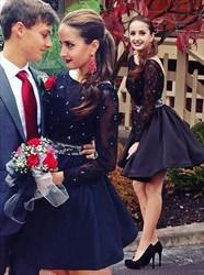 Black Beaded Long Sleeve Embellished Short Homecoming Dress
