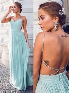 Baby Blue Spaghetti Strap Backless Ruched Chiffon Long Prom Dress