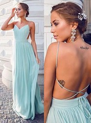 Baby Blue Spaghetti Strap Backless Ruched Chiffon Long Prom Dress
