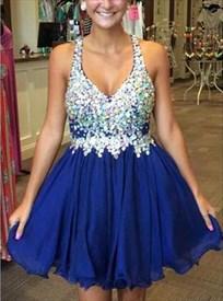 Royal Blue Beaded Bodice Short Halter Homecoming Dresses