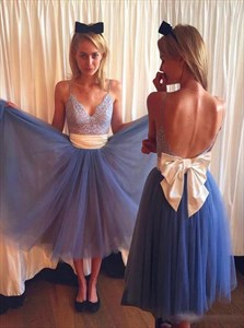 Blue Spaghetti Strap Backless Lace Top Prom Dress With Bow On Back