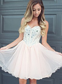 Blush Pink Strapless Sweetheart Beaded Bodice Short Party Dress