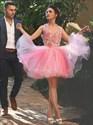 Pink Halter Floral Applique Backless Short Cocktail Dress