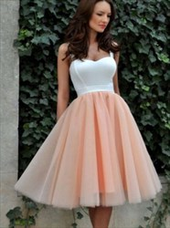 Two Tone Sweetheart Short Tulle Bridesmaid Dress With Straps