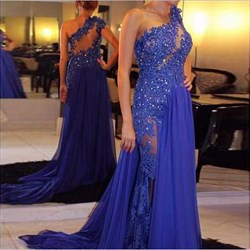 Royal Blue One Shoulder Sheer Lace Embellished Prom Dress With Slit