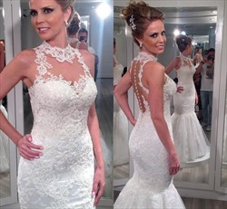 Ivory High Neck Sheer Back Lace Mermaid Long Wedding Dress