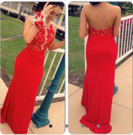 Red Sheer Lace Bodice Backless Long Chiffon Evening Dress