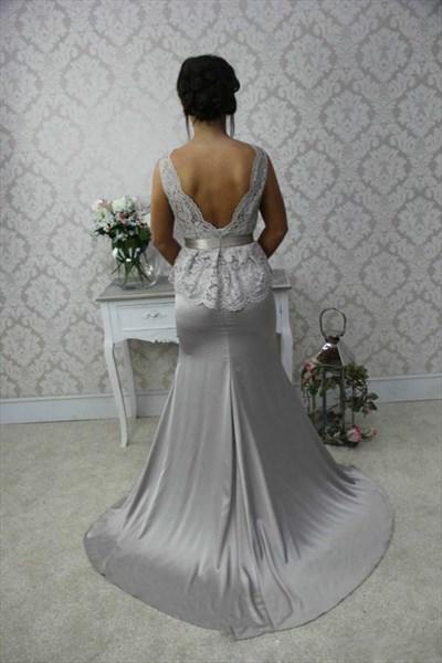 Grey Lace Bodice Peplum Sheath Floor Length Bridesmaid Dress With Bow