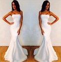 Elegant White Strapless Mermaid Floor Length Prom Dresses