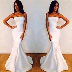 Elegant White Strapless Mermaid Floor Length Prom Dresses