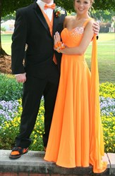 Orange One Shoulder Sweetheart A Line Chiffon Long Bridesmaid Dress