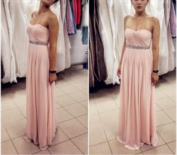 Pink Strapless Long Bridesmaid Dress With Beaded Waist Detail