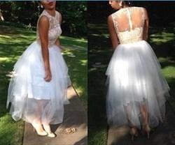 White Tea Length Sheer Lace Bodice Tulle Bottom Wedding Dress