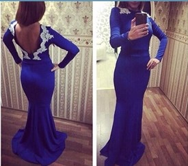 Royal Blue Lace Applique Open Back Long Sleeve Prom Dress