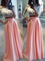 Two Piece Long Sleeve Prom Dress With Illusion Lace Bodice