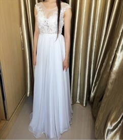 White Sheer Lace Applique Bodice Backless Long Prom Dress