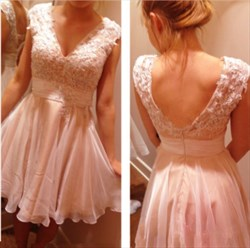 Pink V Neck Lace Applique Top Short Chiffon Bridesmaid Dresses