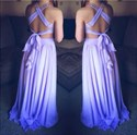 Lavender Backless Beaded Bodice Long Prom Gown With Side Cutouts