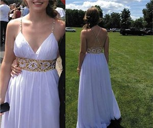 White Spaghetti Strap V Neck Beaded Empire Waist Gown Prom Dress