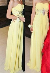 Yellow Strapless Beaded Empire Waist Long Chiffon Prom Dress