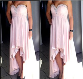 Blush Pink Strapless Empire Waist Beaded High Low Prom Dress