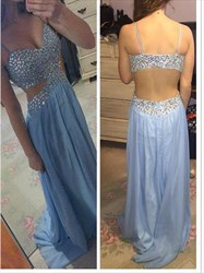 Baby Blue Spaghetti Strap Beaded Backless Prom Dress With Side Cutouts