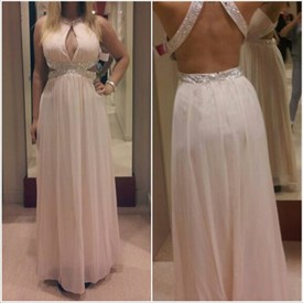Beaded Backless Sleeveless Side Cutout Prom Dress With Keyhole Front