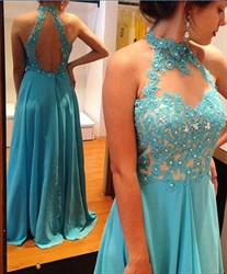 Blue High Neck Backless Embellished Illusion Neck Long Prom Gown