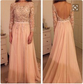 Blush Pink Illusion Lace Long Sleeve Backless Full Length Prom Dress