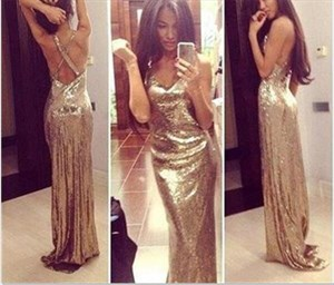 Champagne Backless Sparkly Floor Length Sequin Prom Dress