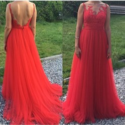 Red Open Back Sheer Lace Embellished Tulle Long Formal Dress
