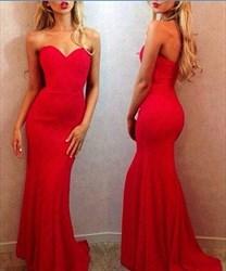 Elegant Red Strapless Sweetheart Mermaid Long Prom Dress