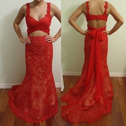 Red Two Piece Sheer Lace Embellished Long Prom Dress With Train