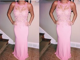 Pink Sleeveless Sheer Lace Applique Long Sheath Formal Dress
