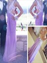 Lavender V Neck Lace Applique Backless Long Evening Dress