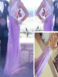 Lavender V Neck Lace Applique Backless Long Evening Dress