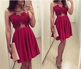 Burgundy Short Sleeveless Sheer Lace Embellished Party Dress