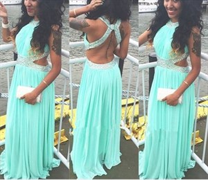 Turquoise Beaded High Neck Long Prom Dress With Side Cutouts