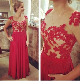 Red Cap Sleeve Sheer Lace Embellished Top Long Prom Dress
