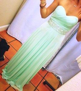 Mint Green Strapless Sweetheart Ruched Bodice Beaded Bridesmaid Dress