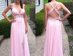 Pink Halter Beaded Bodice Backless Long Chiffon Prom Dress