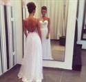 White Elegant Spaghetti Strap Sweetheart Open Back Prom Gown