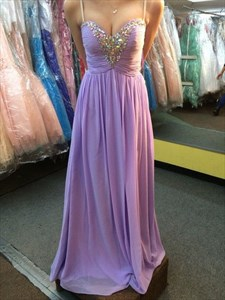 Lilac Strapless Sweetheart Beaded Ruched Bodice Chiffon Prom Dress