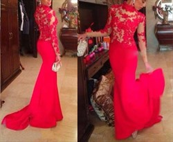 Red High Neck Sheer Lace Applique Long Sleeve Mermaid Prom Dress