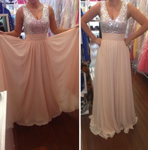 Blush Pink V Neck Sequin Embellished Bodice Long Chiffon Prom Dress