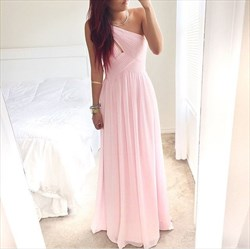 Pink One Shoulder Ruched Sleeveless Chiffon Bridesmaid Dress