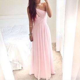 Pink One Shoulder Ruched Sleeveless Chiffon Bridesmaid Dress